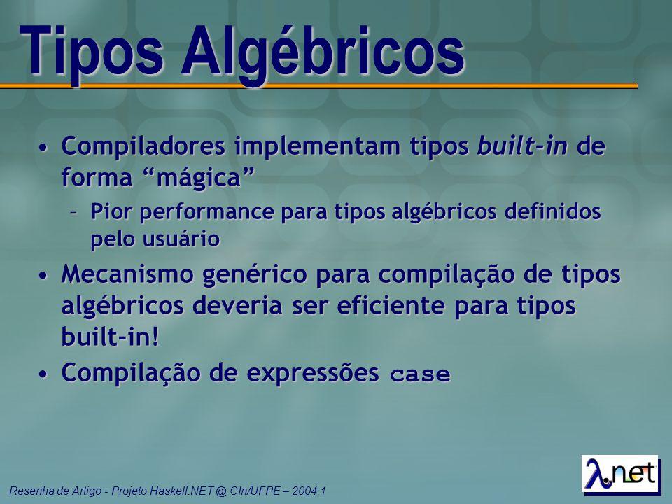 Tipos Algébricos Compiladores implementam tipos built-in de forma mágica Pior performance para tipos algébricos definidos pelo usuário.