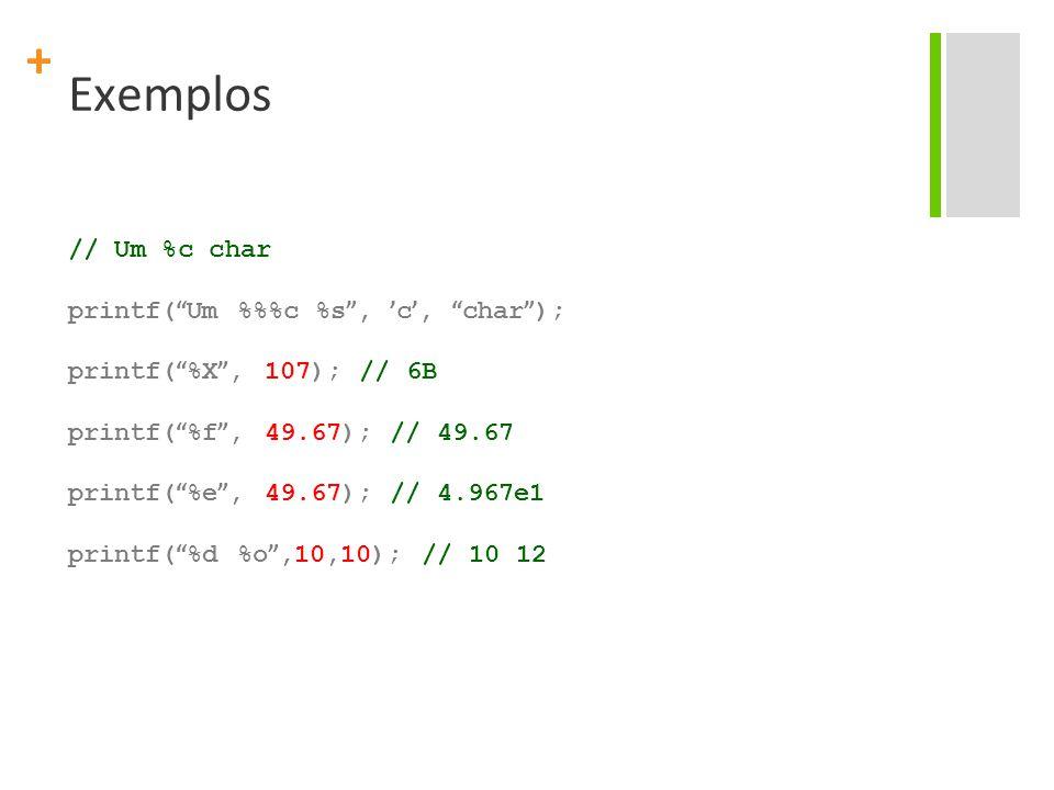 Exemplos // Um %c char printf( Um %%%c %s , 'c', char );