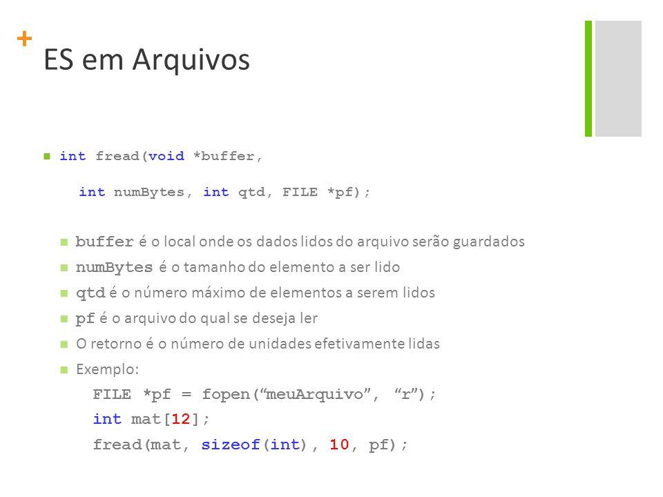 ES em Arquivos int fread(void *buffer, int numBytes, int qtd, FILE *pf); buffer é o local onde os dados lidos do arquivo serão guardados.
