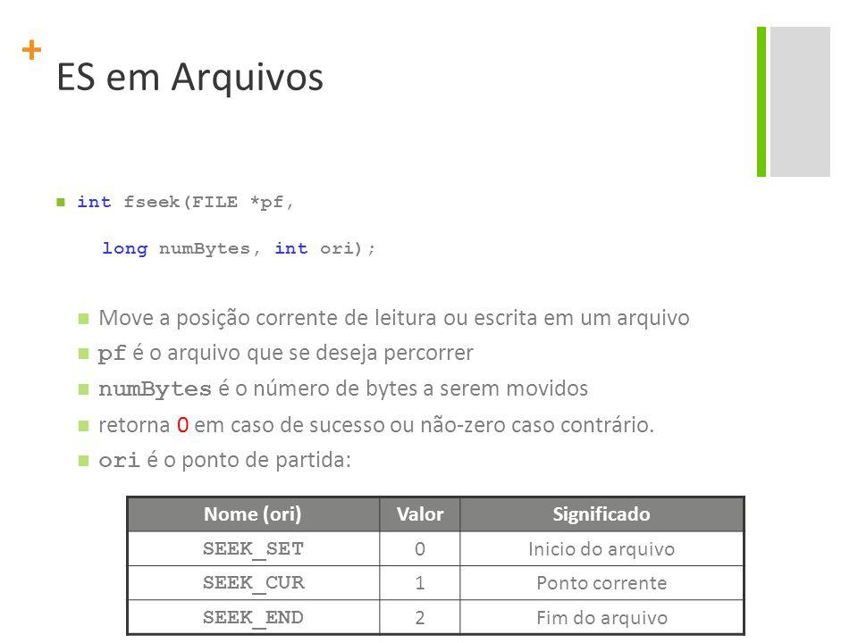 ES em Arquivos int fseek(FILE *pf, long numBytes, int ori); Move a posição corrente de leitura ou escrita em um arquivo.