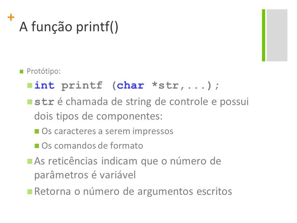 A função printf() int printf (char *str,...);