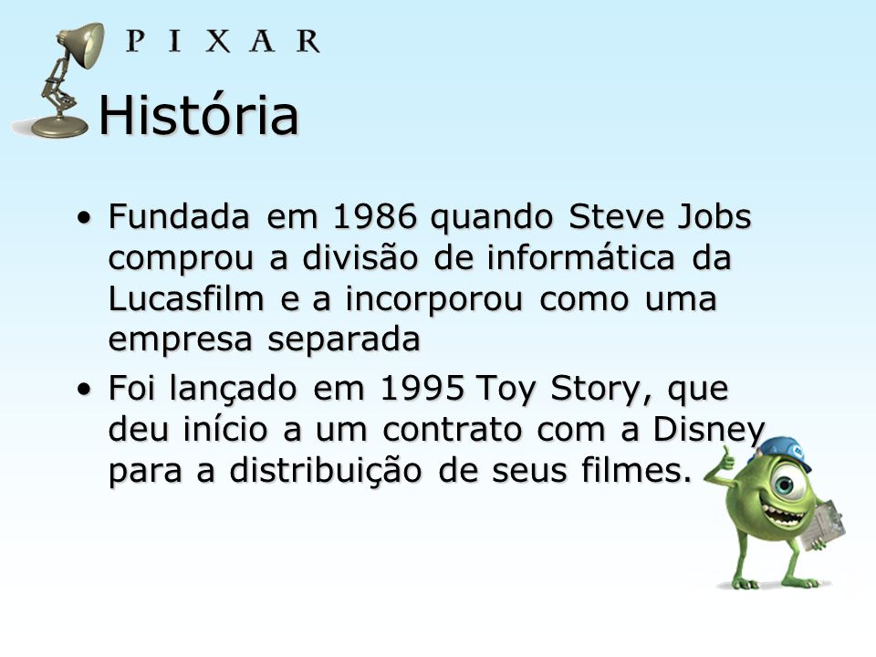 História Fundada em 1986 quando Steve Jobs comprou a divisão de informática da Lucasfilm e a incorporou como uma empresa separada.