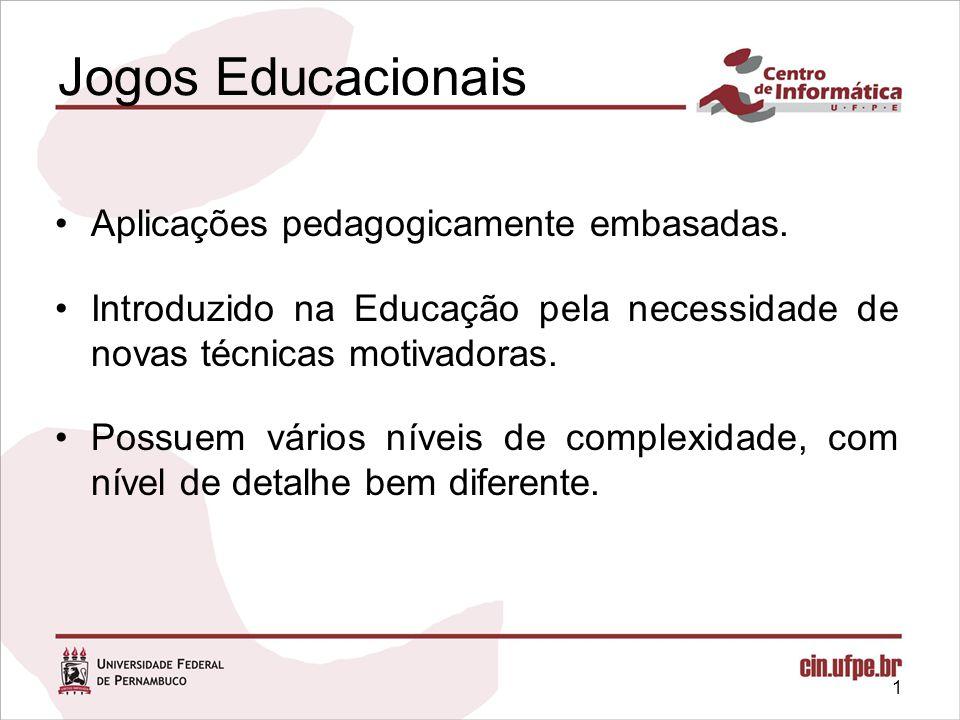 Jogos Educacionais Aplicações pedagogicamente embasadas.