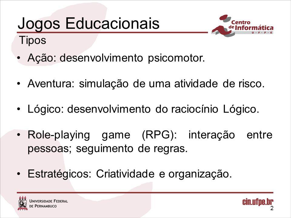Jogos Educacionais Tipos Ação: desenvolvimento psicomotor.