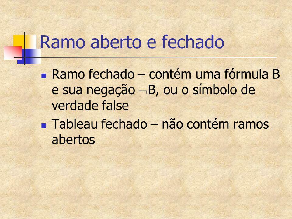 Ramo aberto e fechado Ramo fechado – contém uma fórmula B e sua negação B, ou o símbolo de verdade false.