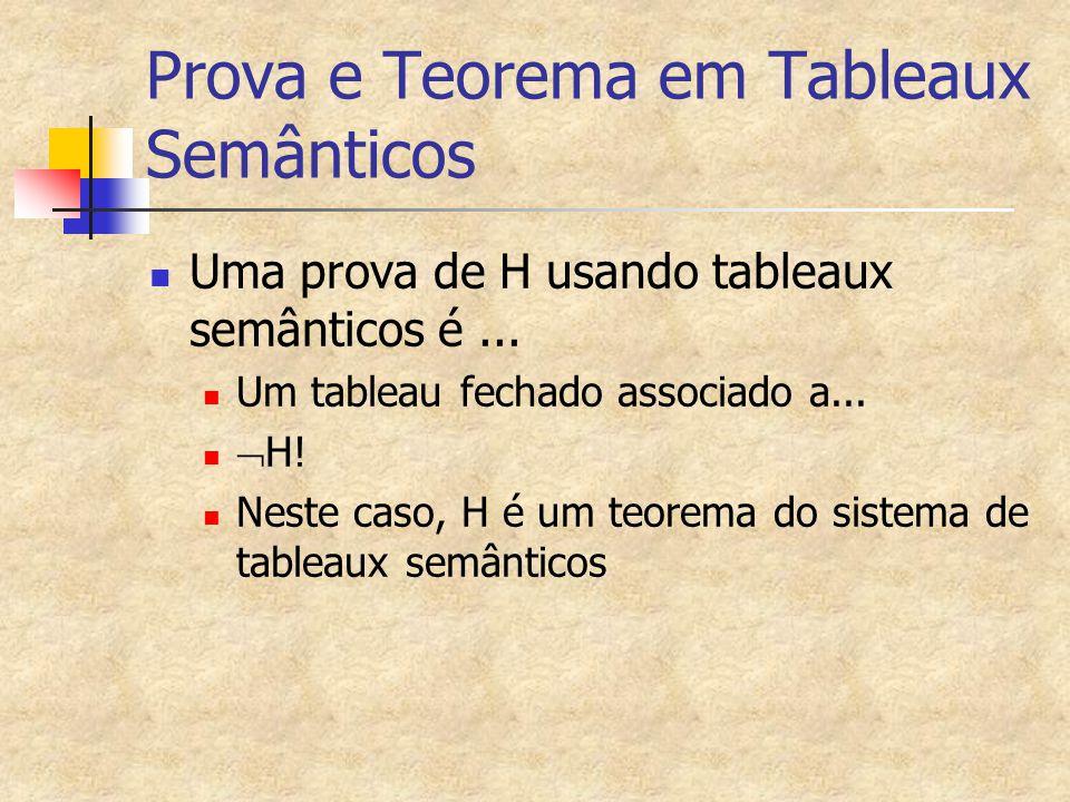 Prova e Teorema em Tableaux Semânticos