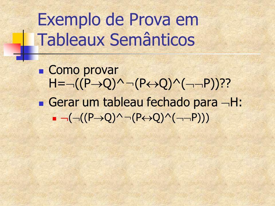 Exemplo de Prova em Tableaux Semânticos