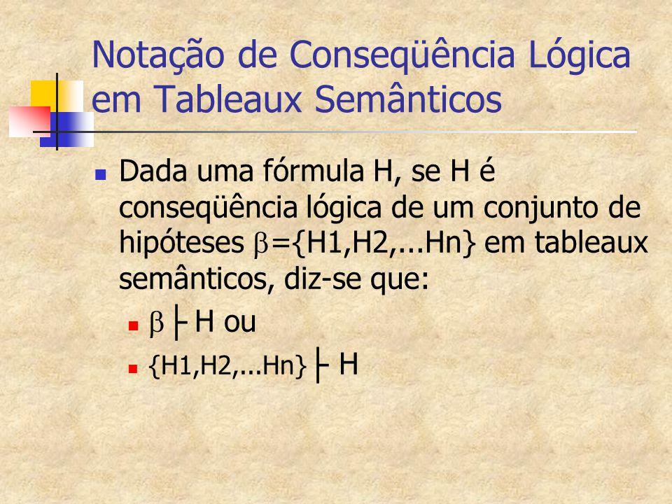 Notação de Conseqüência Lógica em Tableaux Semânticos