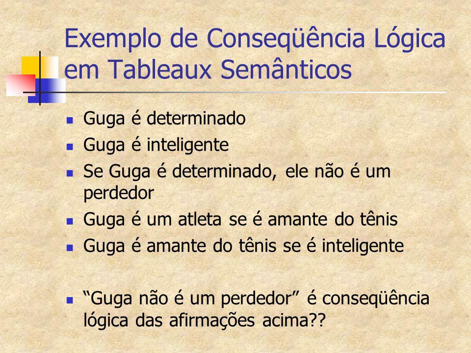 Exemplo de Conseqüência Lógica em Tableaux Semânticos