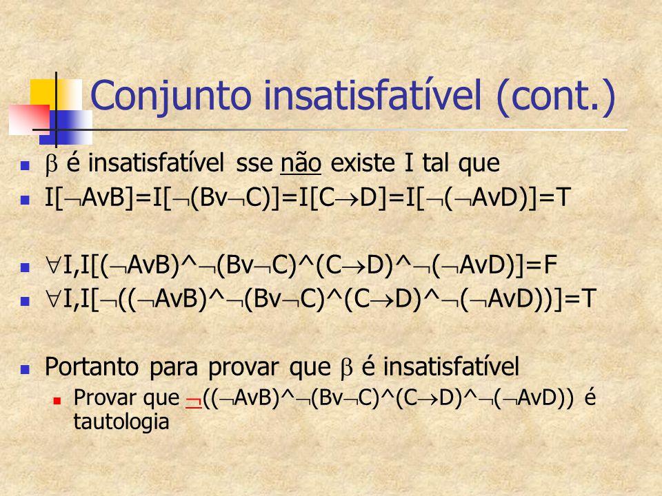 Conjunto insatisfatível (cont.)