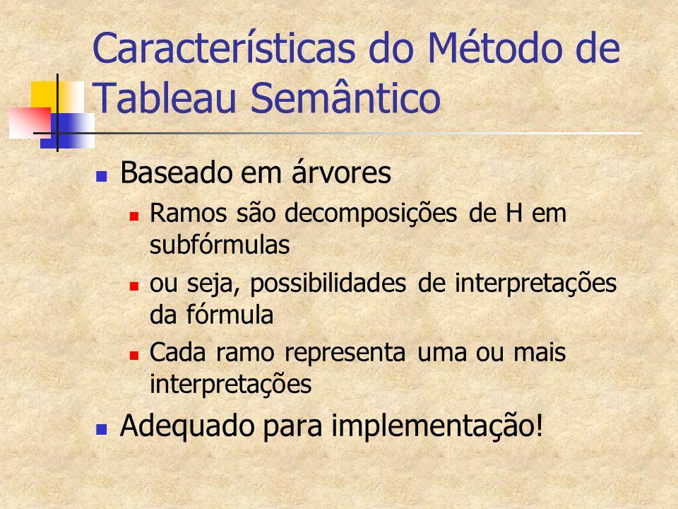 Características do Método de Tableau Semântico