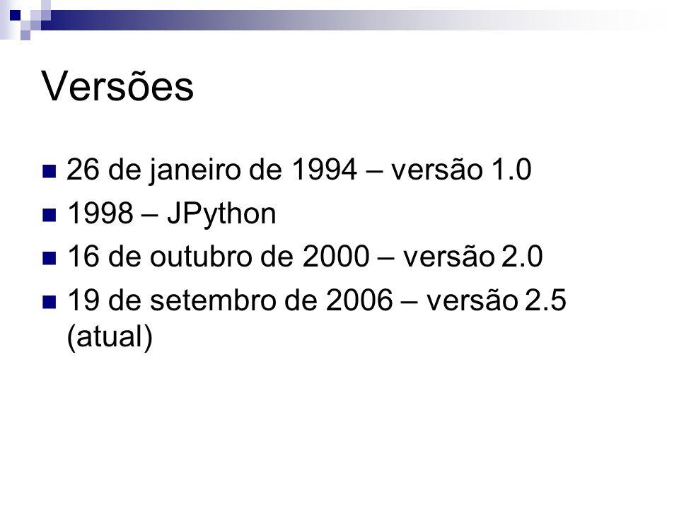 Versões 26 de janeiro de 1994 – versão 1.0 1998 – JPython