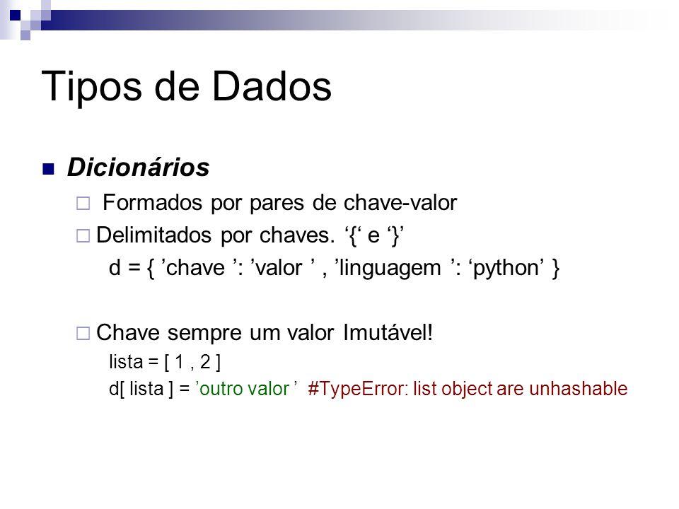 Tipos de Dados Dicionários Formados por pares de chave-valor
