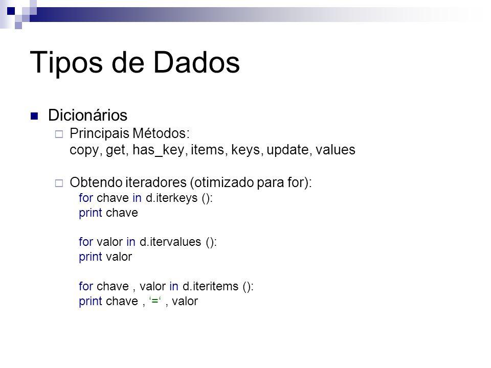 Tipos de Dados Dicionários Principais Métodos: