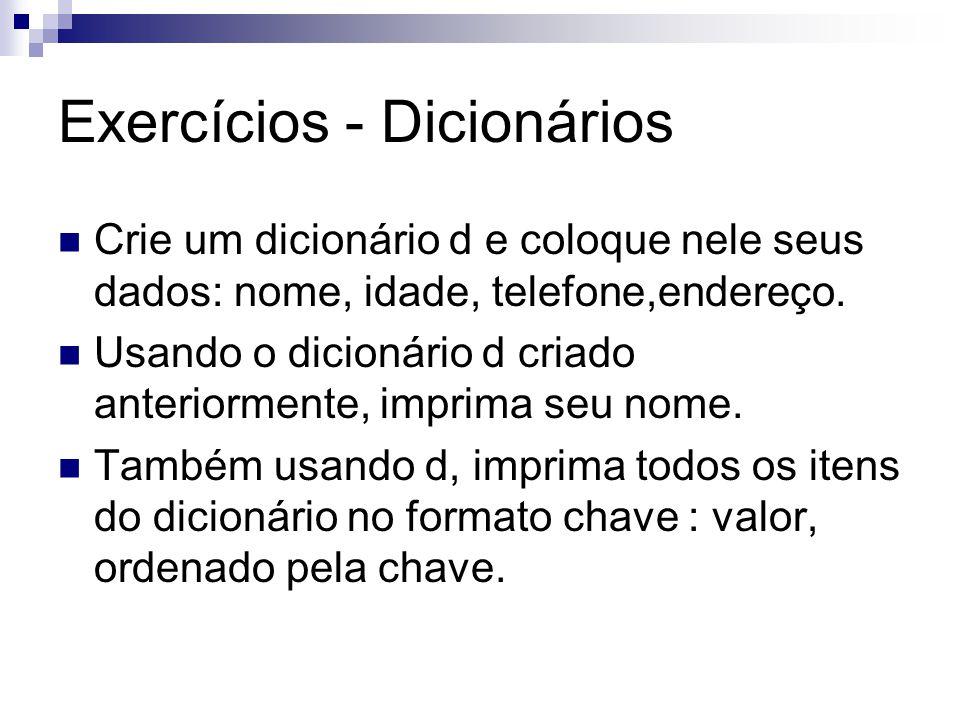 Exercícios - Dicionários
