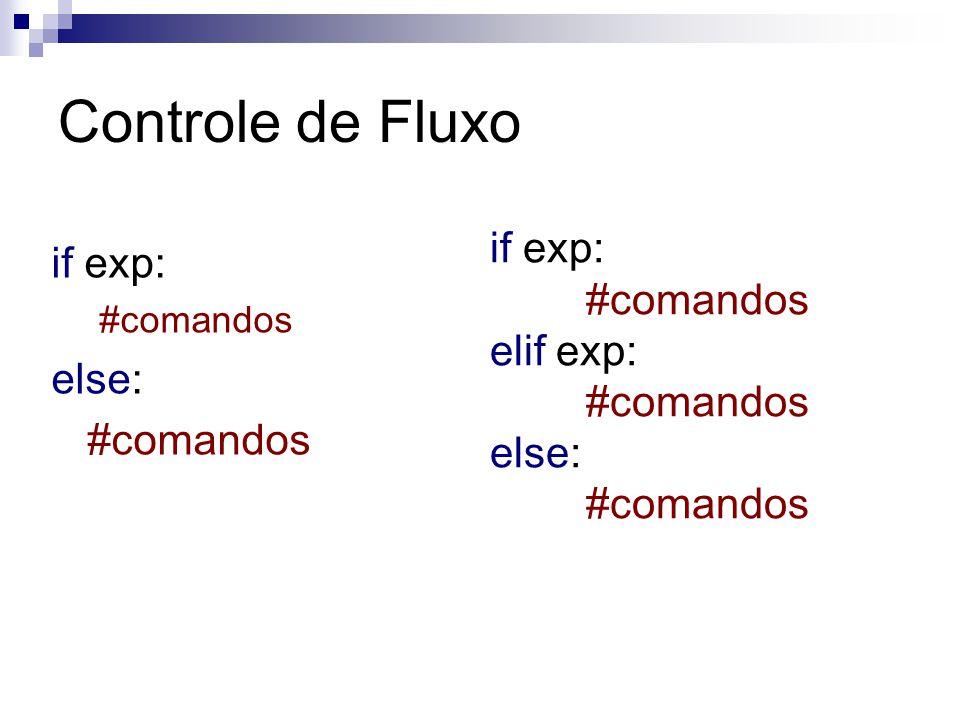 Controle de Fluxo if exp: if exp: #comandos elif exp: else: else: