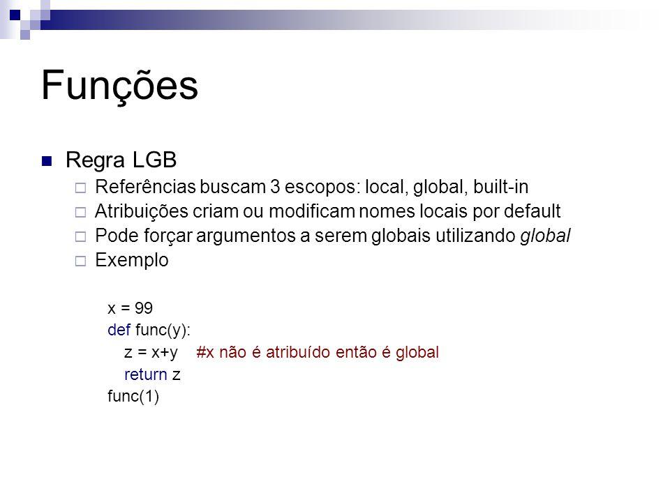Funções Regra LGB. Referências buscam 3 escopos: local, global, built-in. Atribuições criam ou modificam nomes locais por default.