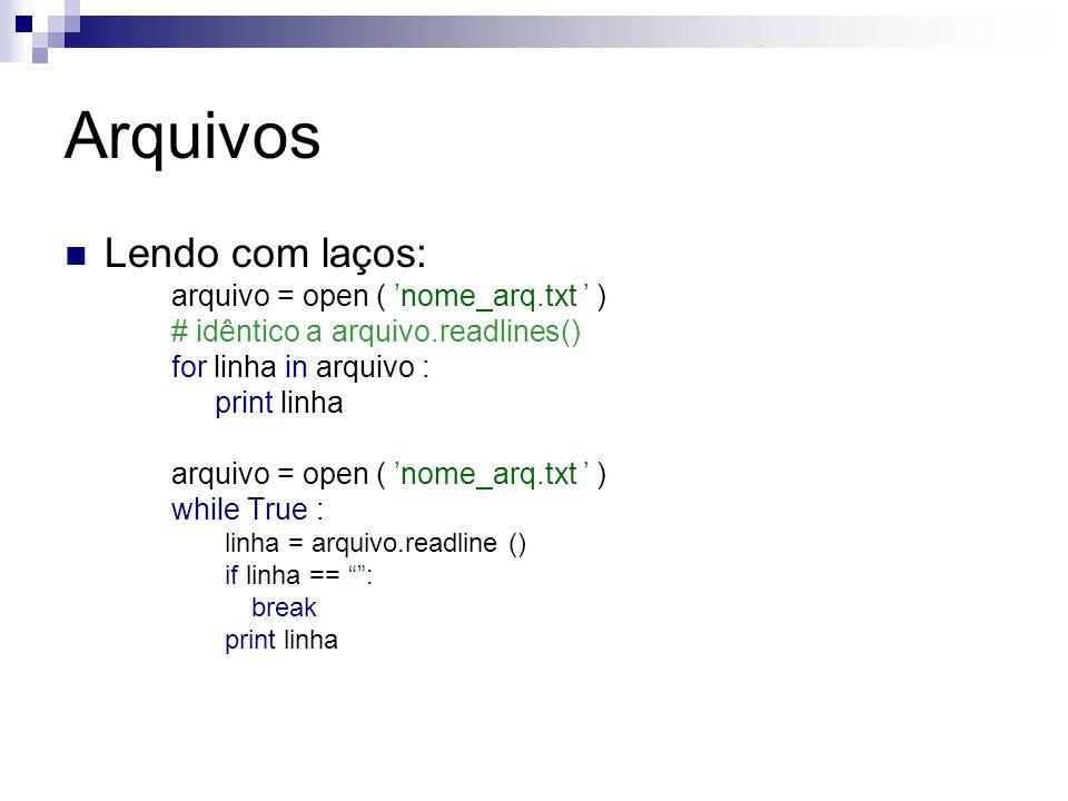 Arquivos Lendo com laços: arquivo = open ( 'nome_arq.txt ' )
