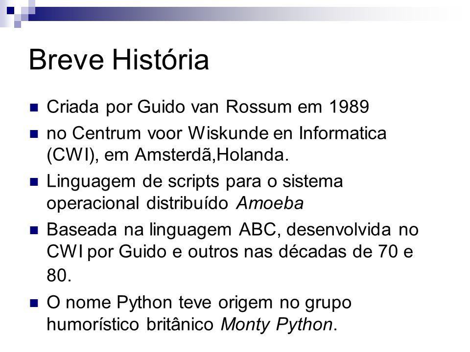 Breve História Criada por Guido van Rossum em 1989