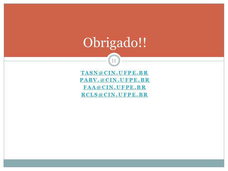 Obrigado!! tasn@cin.ufpe.br pabv.@cin.ufpe.br faa@cin.ufpe.br
