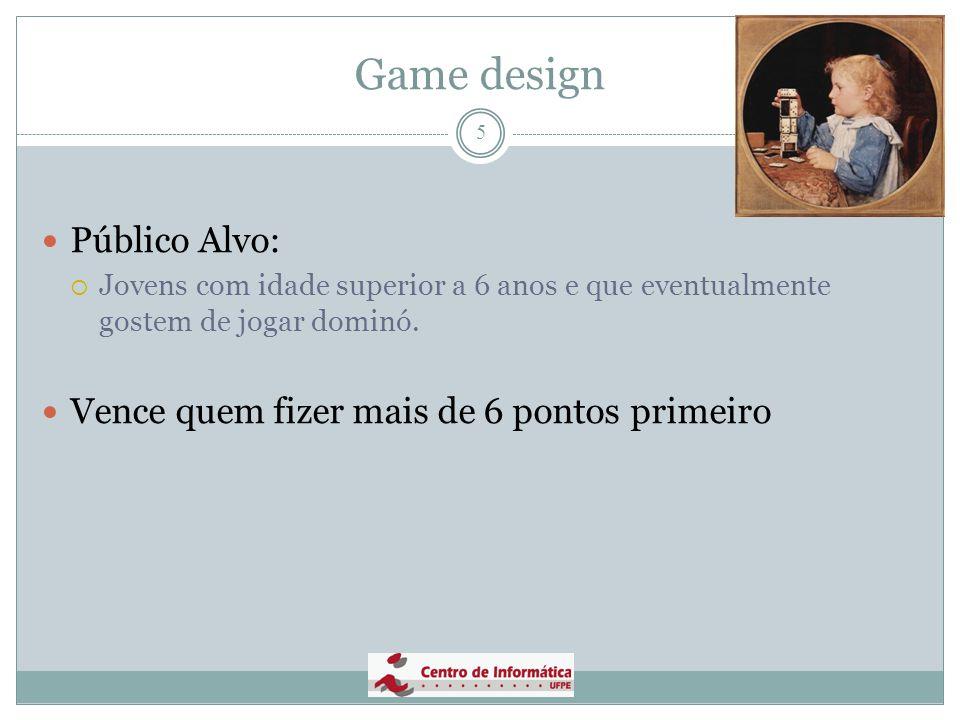 Game design Público Alvo: Vence quem fizer mais de 6 pontos primeiro