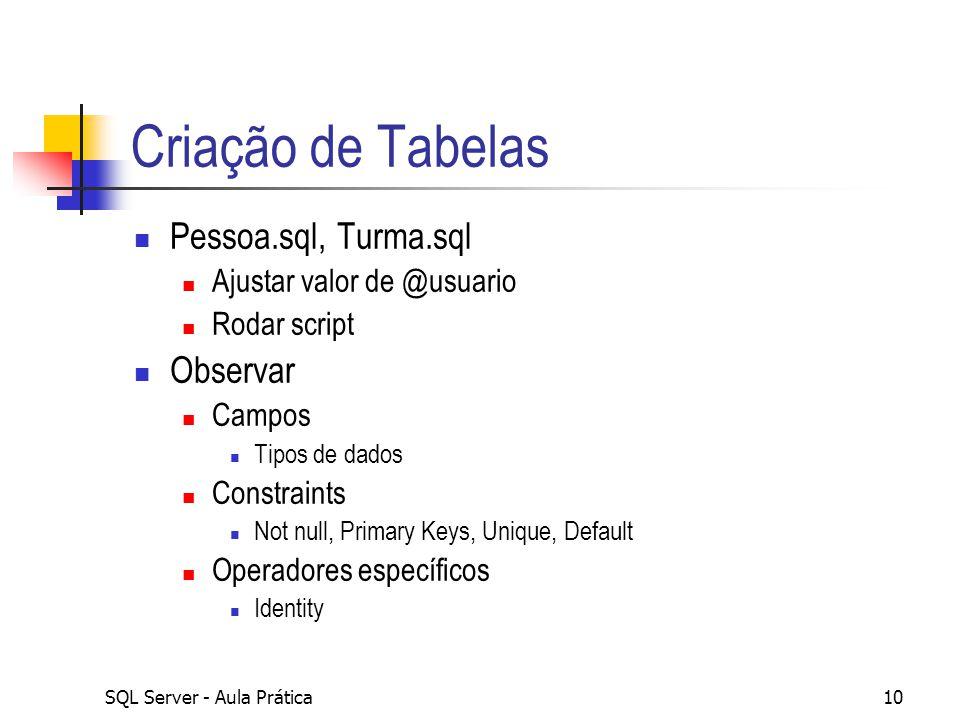 Criação de Tabelas Pessoa.sql, Turma.sql Observar