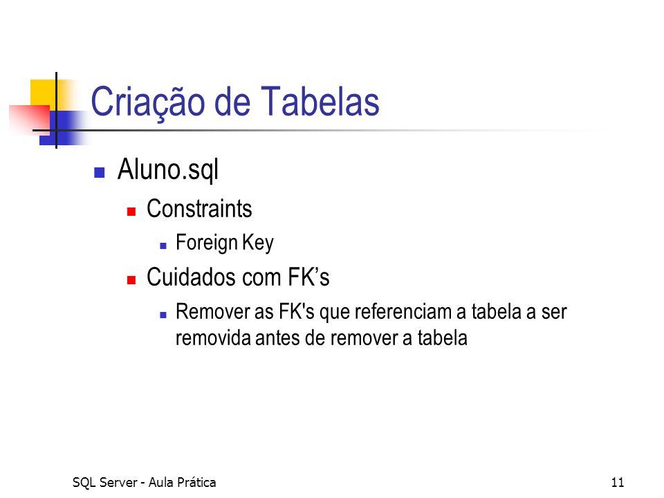 Criação de Tabelas Aluno.sql Constraints Cuidados com FK's Foreign Key