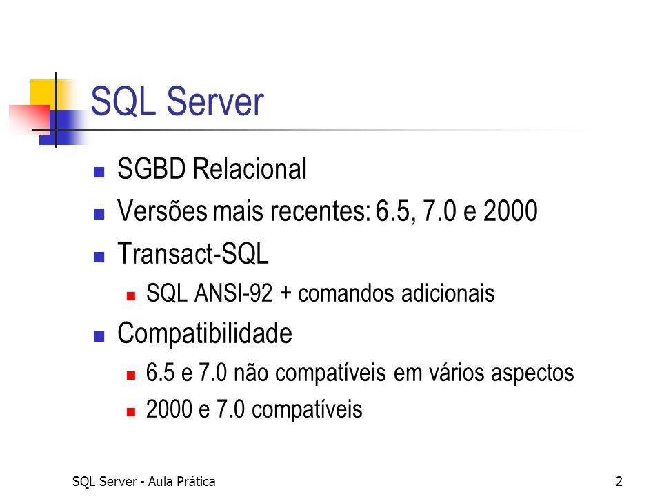 SQL Server SGBD Relacional Versões mais recentes: 6.5, 7.0 e 2000