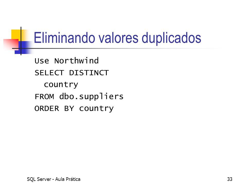 Eliminando valores duplicados