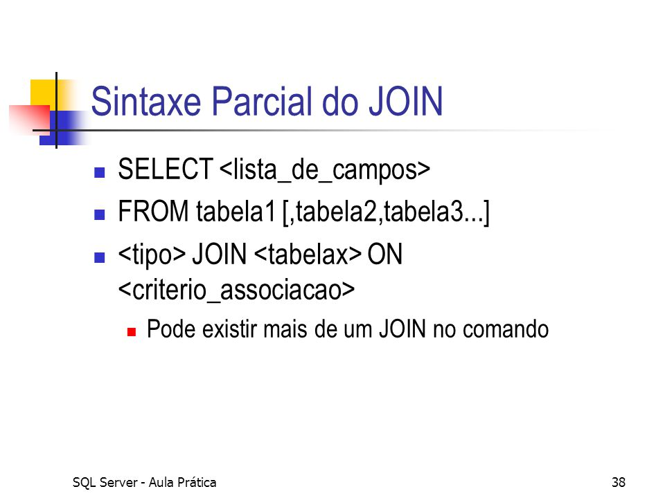 Sintaxe Parcial do JOIN