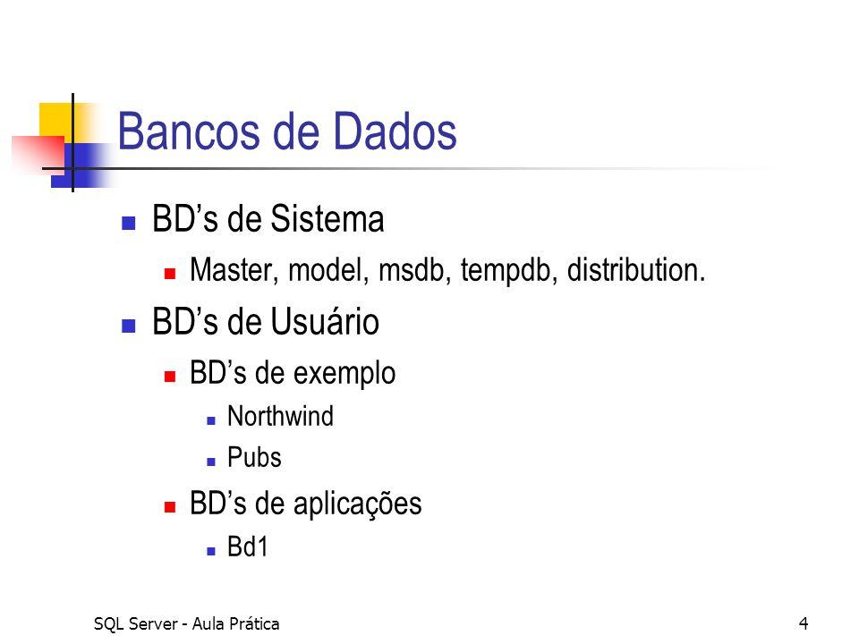 Bancos de Dados BD's de Sistema BD's de Usuário