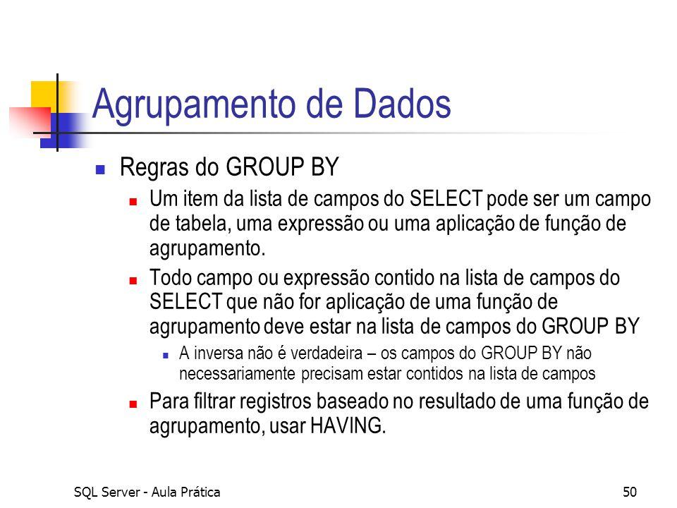 Agrupamento de Dados Regras do GROUP BY