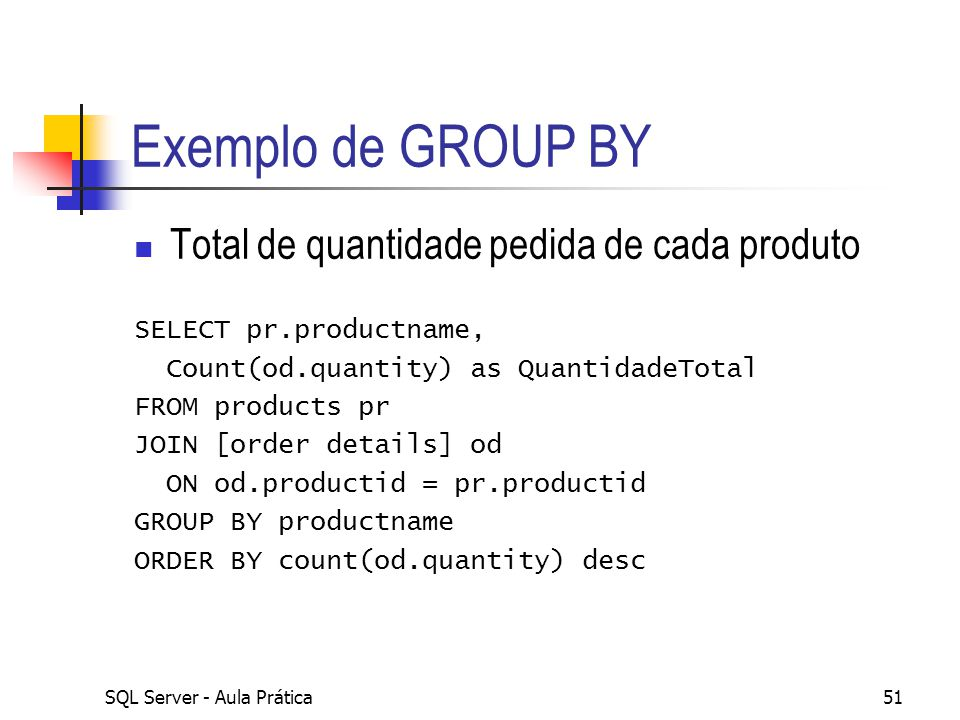 Exemplo de GROUP BY Total de quantidade pedida de cada produto