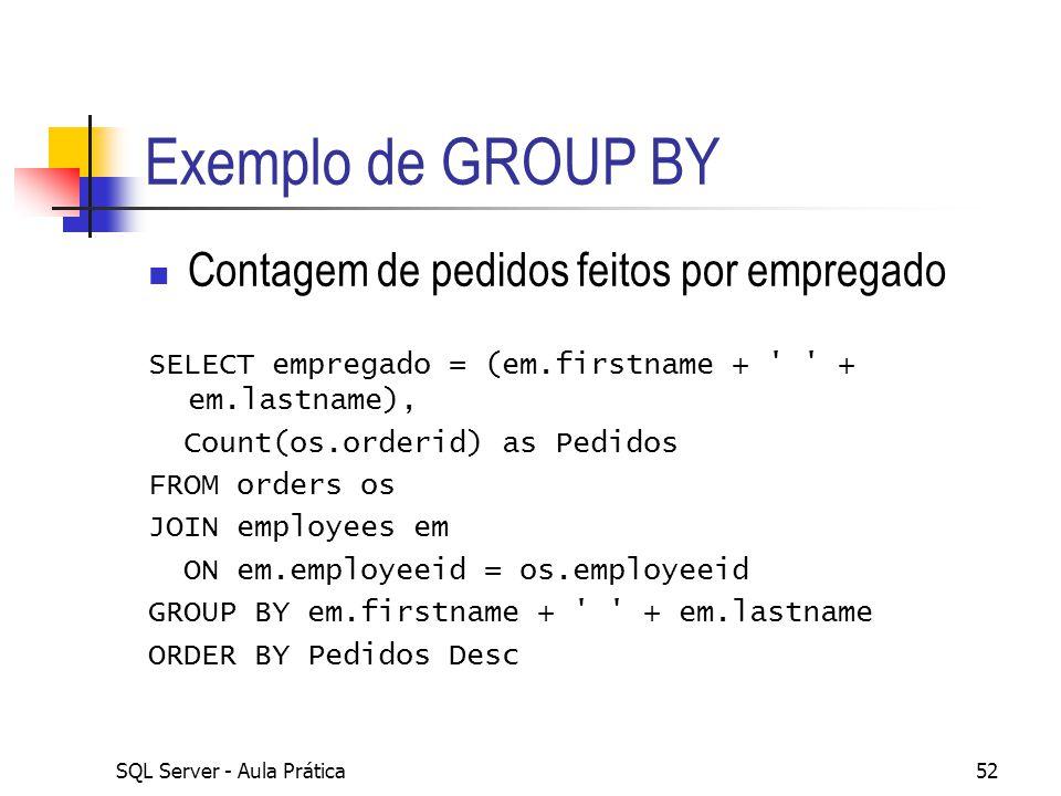 Exemplo de GROUP BY Contagem de pedidos feitos por empregado