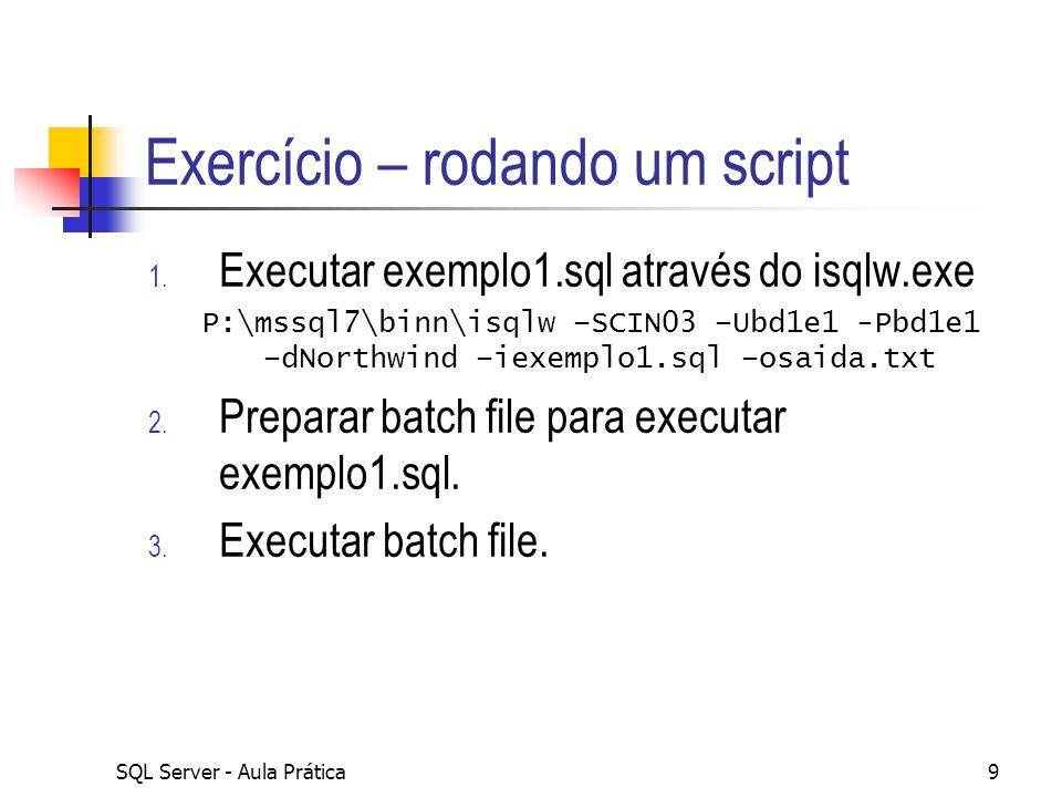 Exercício – rodando um script