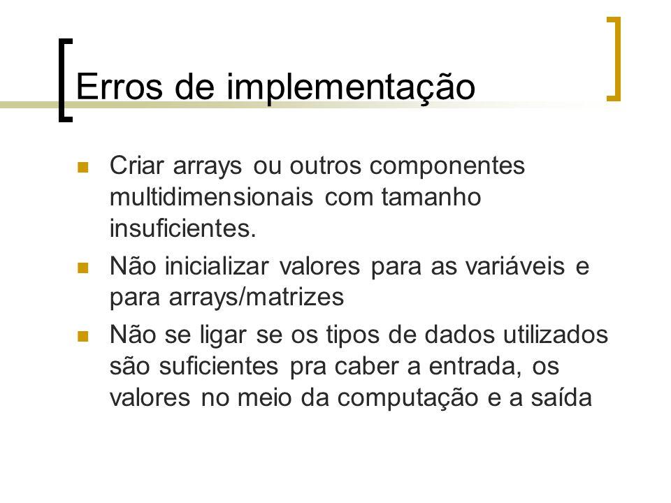 Erros de implementação
