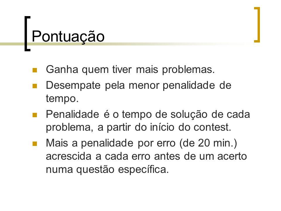 Pontuação Ganha quem tiver mais problemas.