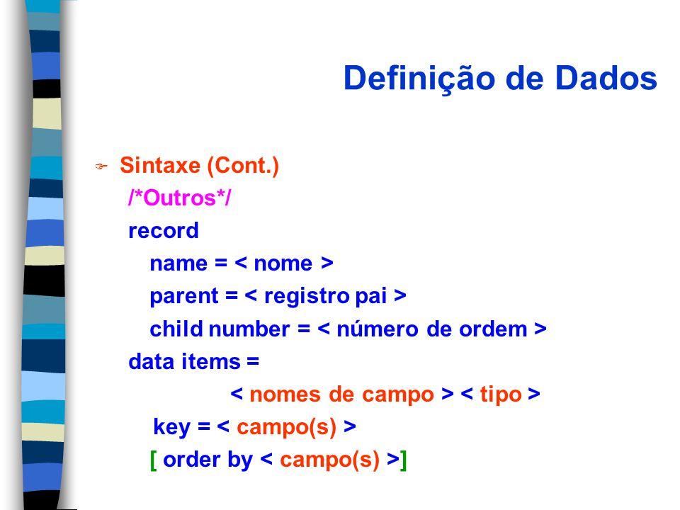 Definição de Dados Sintaxe (Cont.) /*Outros*/ record