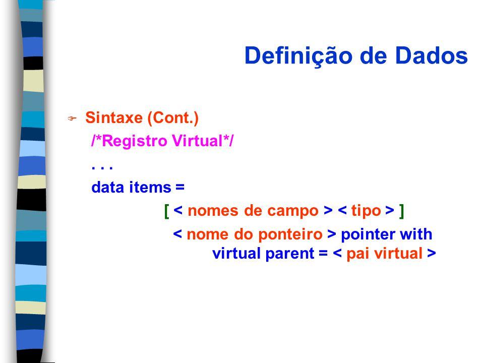 Definição de Dados Sintaxe (Cont.) /*Registro Virtual*/ . . .