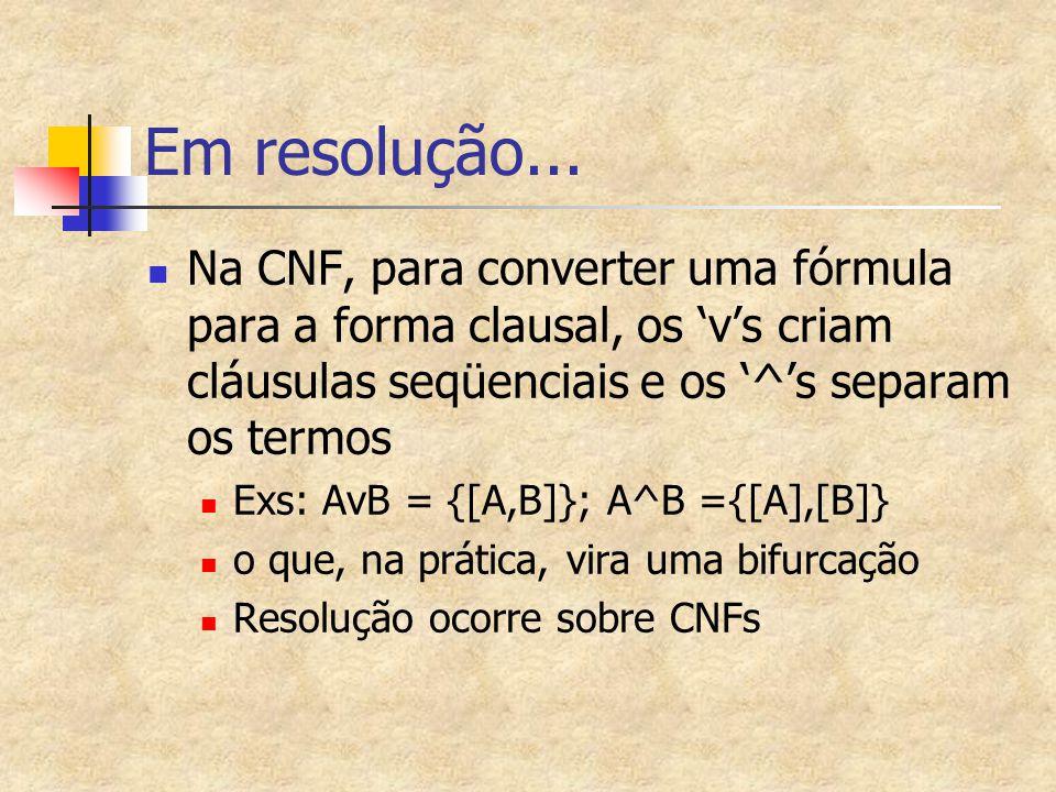 Em resolução... Na CNF, para converter uma fórmula para a forma clausal, os 'v's criam cláusulas seqüenciais e os '^'s separam os termos.