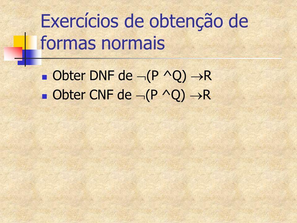 Exercícios de obtenção de formas normais