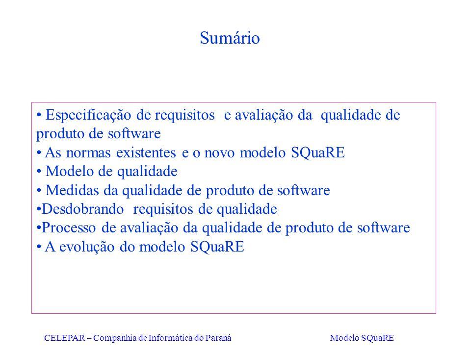 Sumário Especificação de requisitos e avaliação da qualidade de produto de software. As normas existentes e o novo modelo SQuaRE.