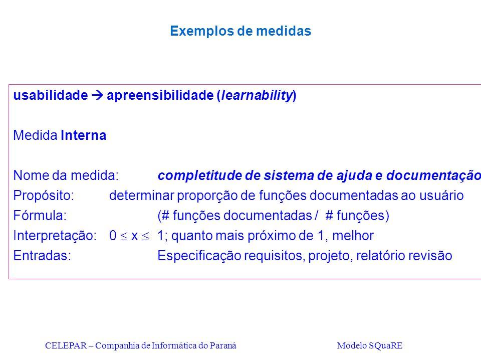 usabilidade  apreensibilidade (learnability) Medida Interna