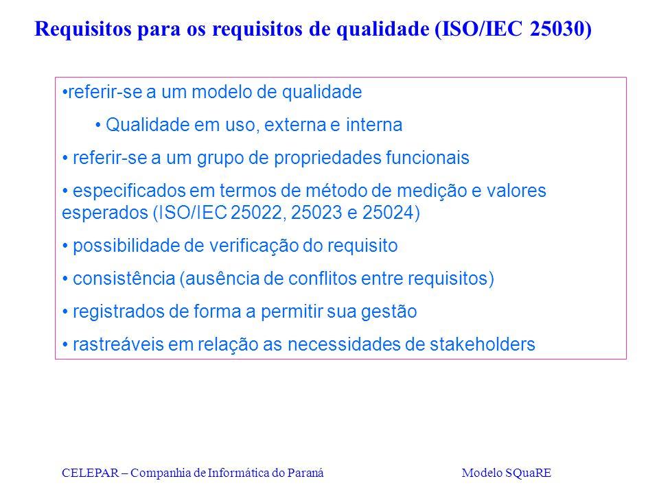 Requisitos para os requisitos de qualidade (ISO/IEC 25030)