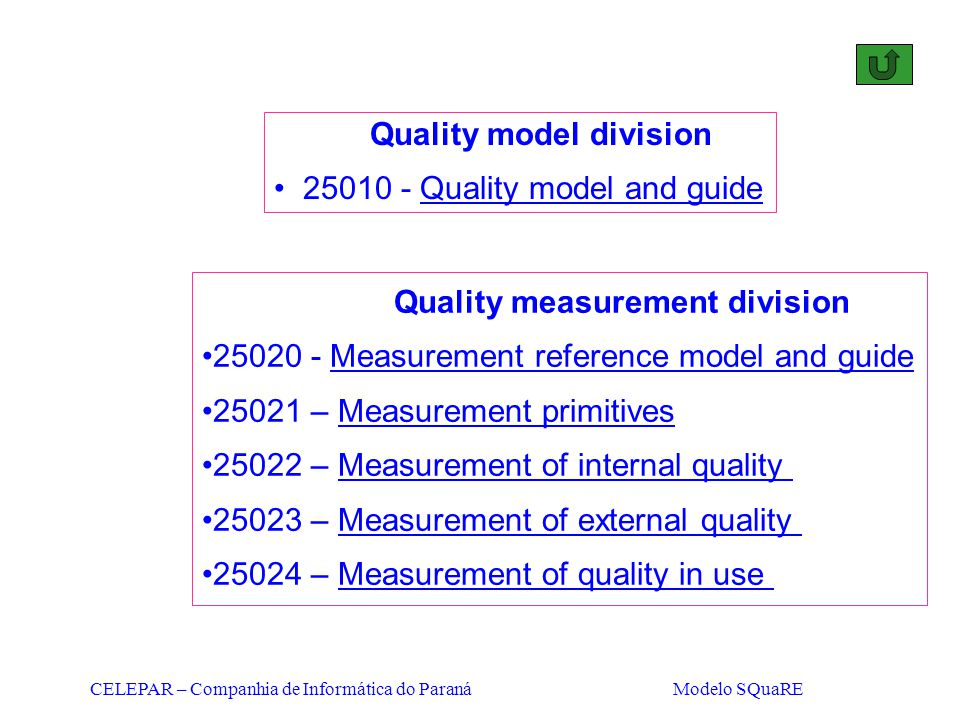 Quality model division 25010 - Quality model and guide