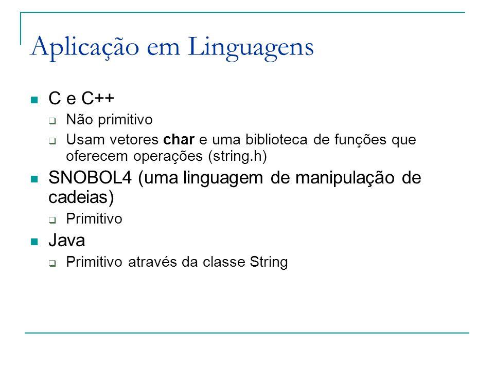 Aplicação em Linguagens