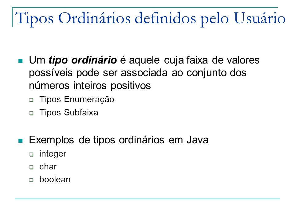 Tipos Ordinários definidos pelo Usuário