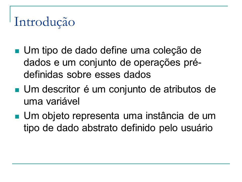 Introdução Um tipo de dado define uma coleção de dados e um conjunto de operações pré-definidas sobre esses dados.