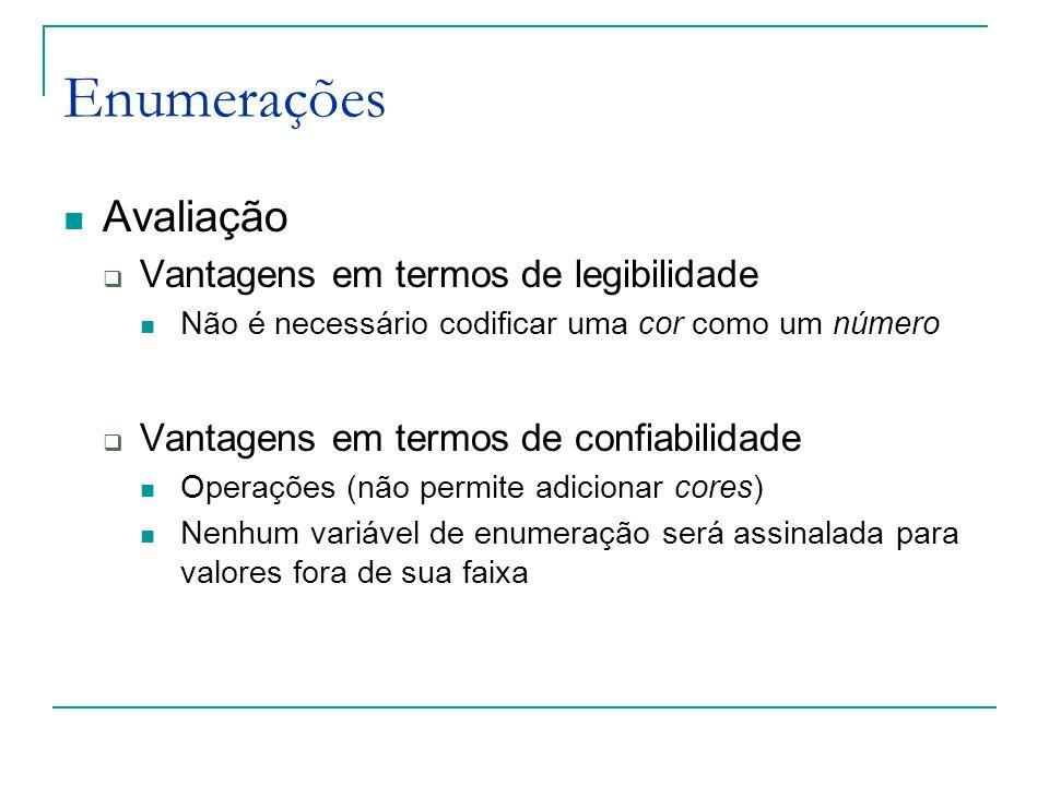 Enumerações Avaliação Vantagens em termos de legibilidade