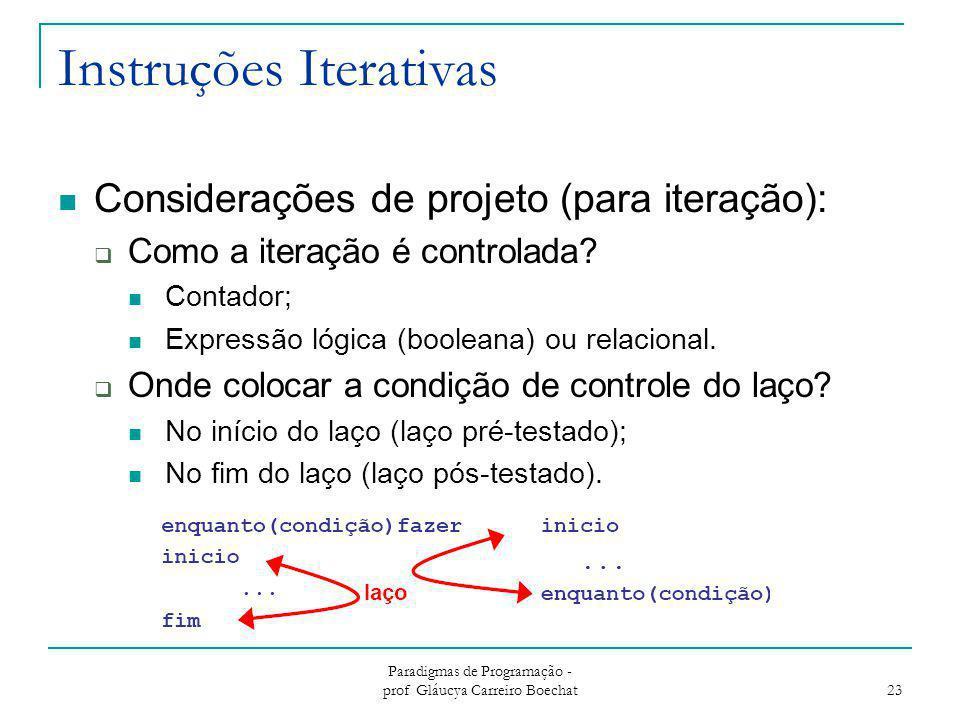Instruções Iterativas